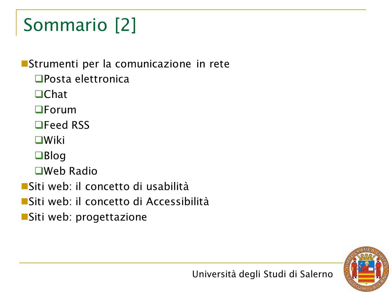 Sommario [2] Strumenti per la comunicazione in rete Posta elettronica